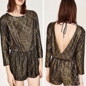 Zara Basic Black and Gold Sequins Romper Size M